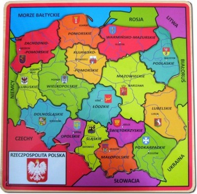 drewniana mapa polityczna Polski