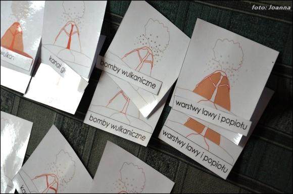 budowa wulkanu - karty nomenklaturowe, montessori