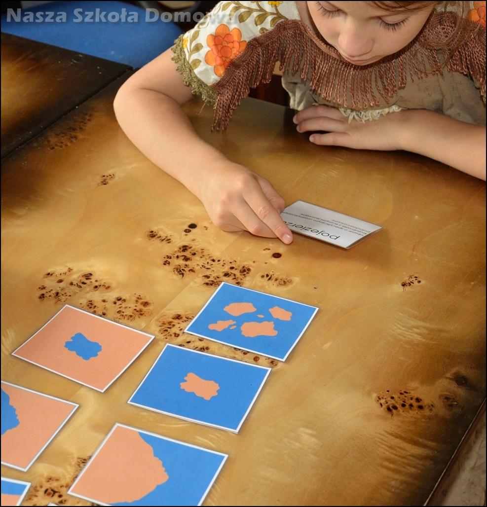 formy lądu i wody - karty pracy Montessori