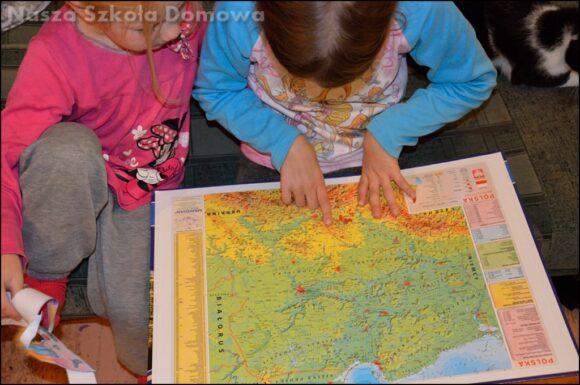 fizyczna mapa Polski - plansza