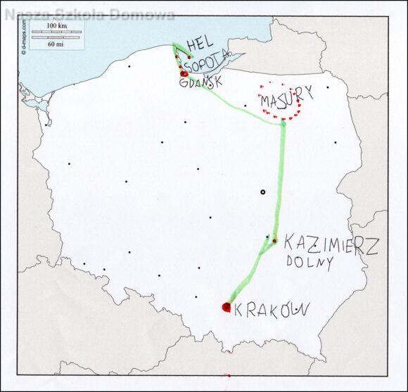 Mapa Polski - miasta