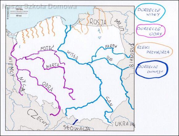 Konturowa mapa Polski - dorzecza