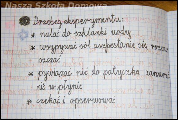 OK zeszyt - notatka na temat eksperymentu