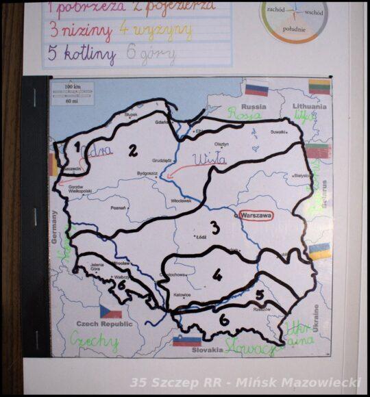 mapa Polski - krajobrazy